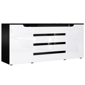 Sideboard  Sylt V2 in Schwarz / Weiß Hochglanz mit Absetzungen in Schwarz ♥ Sideboard und Vitrine