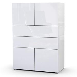 Kommode Sideboard Massa V2 in Weiß / Weiß Hochglanz ♥ Sideboard Hochglanz Weiß ♥ MDF