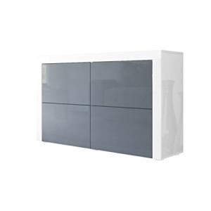 Kommode Sideboard La Paz V2 in Weiß matt / Grau Hochglanz / Weiß Hochglanz ♥ Fernseh Sideboard