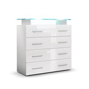 Sideboard Pavos V2 in Weiß / Weiß Hochglanz ♥ Sideboard Weiß Hochglanz Günstig ♥ MDF