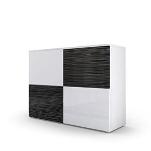 Kommode Sideboard Rova in Weiß matt / Weiß Hochglanz / Schwarz Silverline Hochglanz ♥ Sideboards