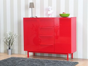 Design Highboard New York Anrichte Sideboard Hochglanz rot ♥ Sideboard Rot ♥ MDF