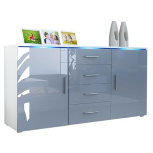 Sideboard Kommode Faro in Weiß / Grau Hochglanz ♥ Designer Sideboards ♥ MDF
