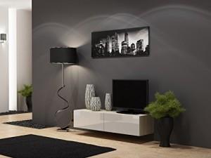 Sideboard / Lowboard Migo Wohnwand (Sonoma Eiche Matt / Weiß Hochglanz) ♥ TV Board hängend