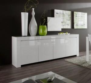 Sideboard Amalfi 4-türig ♥ Sideboard Weiß Hochglanz ♥ Holz