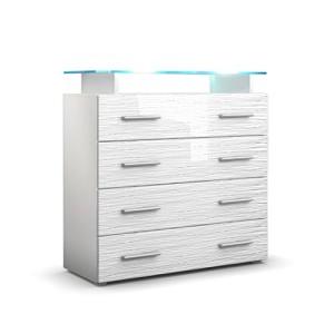 Kommode Sideboard Pavos V2 in Weiß / Weiß Silverline Hochglanz ♥ Sideboard Günstig ♥ MDF