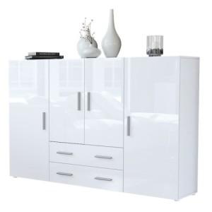 Highboard Sideboard Nora in Weiß / Weiß Hochglanz ♥ Sideboard Hochglanz Weiß ♥ MDF