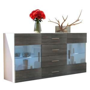 Sideboard Kommode Bari in Weiß / Avola-Anthrazit ♥ Sideboard Weiß ♥ hochglänzenden Fronten aus MDF