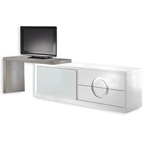 Sideboard ACAPULCO, Kroko-Stil, Glastür , weiß cappuccino ♥ Sideboard Fernseher ♥ MDF