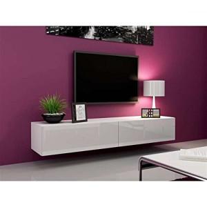 JUSThome Vigo Lowboard TV Board TV-Möbel ♥  Farbe: Weiß Matt / Weiß Hochglanz ♥ Sideboard hängend