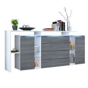 Sideboard Kommode Lissabon V2 in Weiß matt / Avola-Anthrazit ♥ Sideboards Weiß ♥ MDF