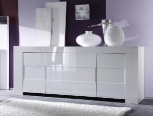Sideboard Eos 4-türig, 210 x 84 x 50 cm, weiß hochglanz ♥ Sideboard Weiss ♥ Holz