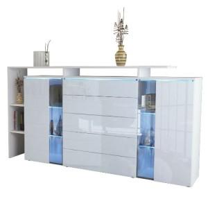Sideboard Weiß Holz - Sideboard Lissabon in Weiß matt / Weiß Hochglanz