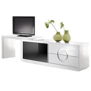 TV-Möbel Sideboard Kommode ACAPULCO, Kroko-Stil, Glastür, weiß/schwarz weiß ♥ TV Sideboard ♥ MDF