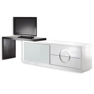 TV-Möbel Sideboard ACAPULCO, Kroko-Stil, Glastür, weiß schwarz ♥ Vitrinen und Sideboards ♥ MDF