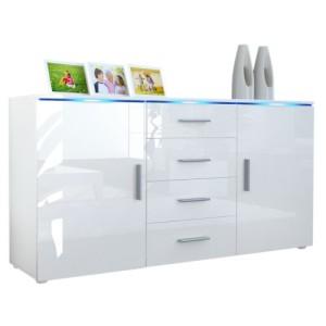 Sideboard Kommode Faro in Weiß / Weiß Hochglanz ♥ Sideboard Weiß Hochglanz ♥ MDF