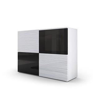 Kommode Sideboard Rova in Weiß matt / Schwarz Hochglanz / Weiß Silverline Hochglanz