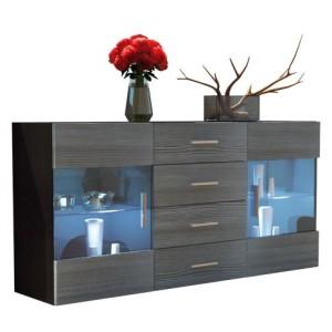 Sideboard Kommode Bari in Schwarz / Avola-Anthrazit ♥  hochglänzenden Fronten aus MDF