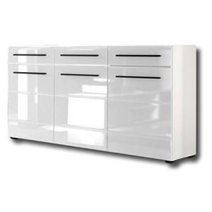 Sideboard Kommode  CLARA ♥ Sideboard Hochglanz Weiß ♥ aus MDF gefertigt in weiß Hochglanz mit Rillen