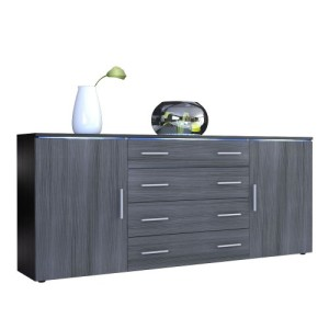 Sideboard Kommode Faro V2 in Schwarz / Avola-Anthrazit ♥ Design Sideboard ♥ MDF