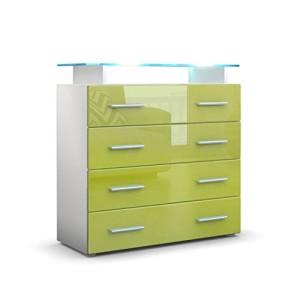 Kommode Sideboard Pavos V2 in Weiß / Limette Hochglanz ♥ Sideboard Hochglanz ♥ MDF