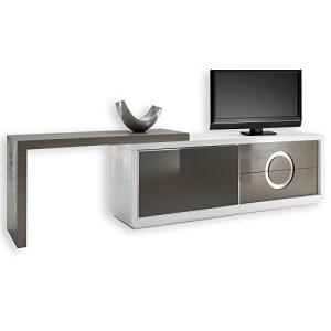 TV-Möbel Sideboard ACAPULCO, Kroko-Stil, Glastür , weiß/cappuccino cappuccino ♥ TV Sideboard ♥ MDF