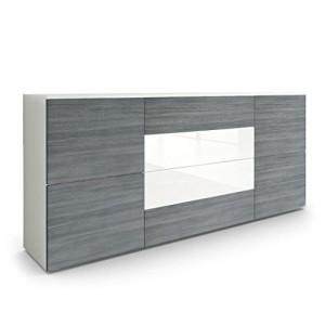 Sideboard Kommode Rova in Weiß matt / Avola Anthrazit / Weiß Hochglanz ♥ Moderne Sideboards ♥ MDF