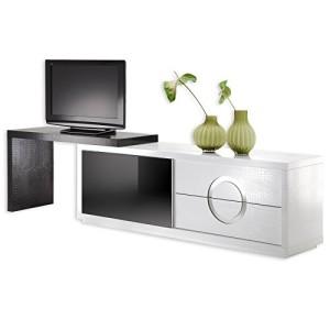Sideboard ACAPULCO, Kroko-Stil, Glastür, weiß/schwarz schwarz ♥ TV Sideboard ♥ MDF