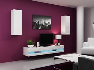 Wohnwand  Vigo New I    Farbe: Weiß matt / weiß Hochglanz ♥ Sideboard hängend