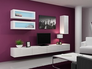 Wohnwand Vigo Full III ♥ Farbe: Weiß matt / weiß Hochglanz ♥ Sideboard hängend