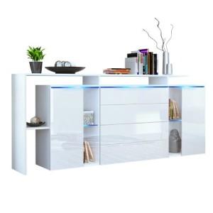 Sideboard Hochglanz Weiß - Lissabon V2 in Weiß matt / Weiß Hochglanz ♥ Sideboard mit Beleuchtung ♥ MDF