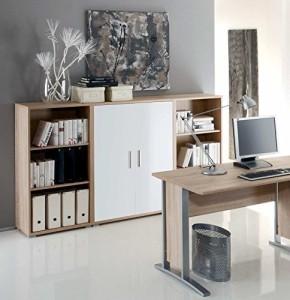 Sideboard OFFICE LINE in Eiche Sonoma / weiß hochglanz ♥ Sideboard Holz ♥