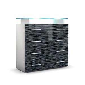 Kommode Sideboard Pavos V2 in Weiß / Schwarz Silverline Hochglanz ♥ Sideboard Günstig ♥ MDF